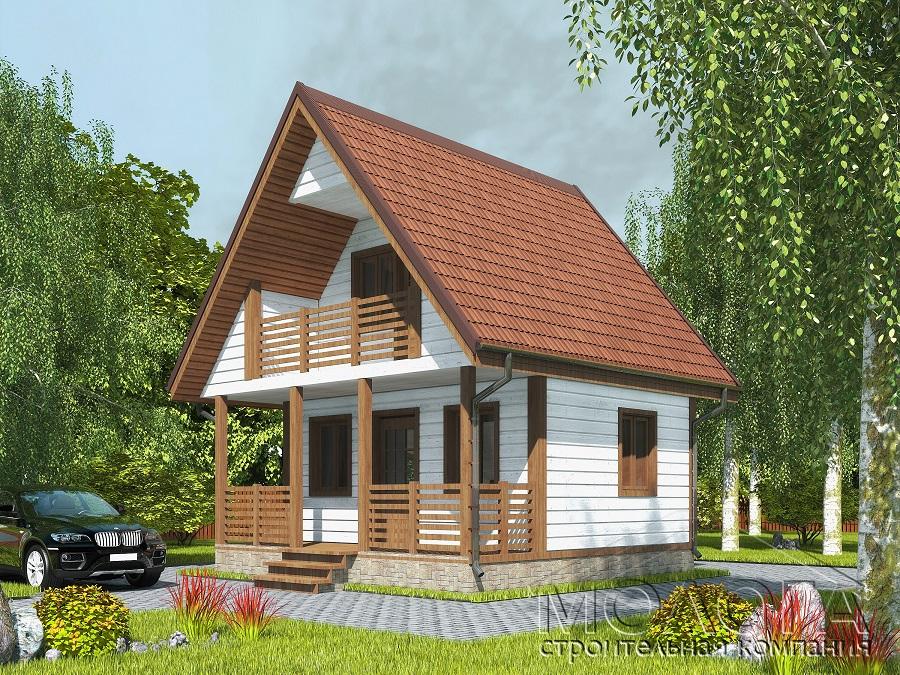 Каркасный дом 6х6 с балконом под ключ, цена, проект.